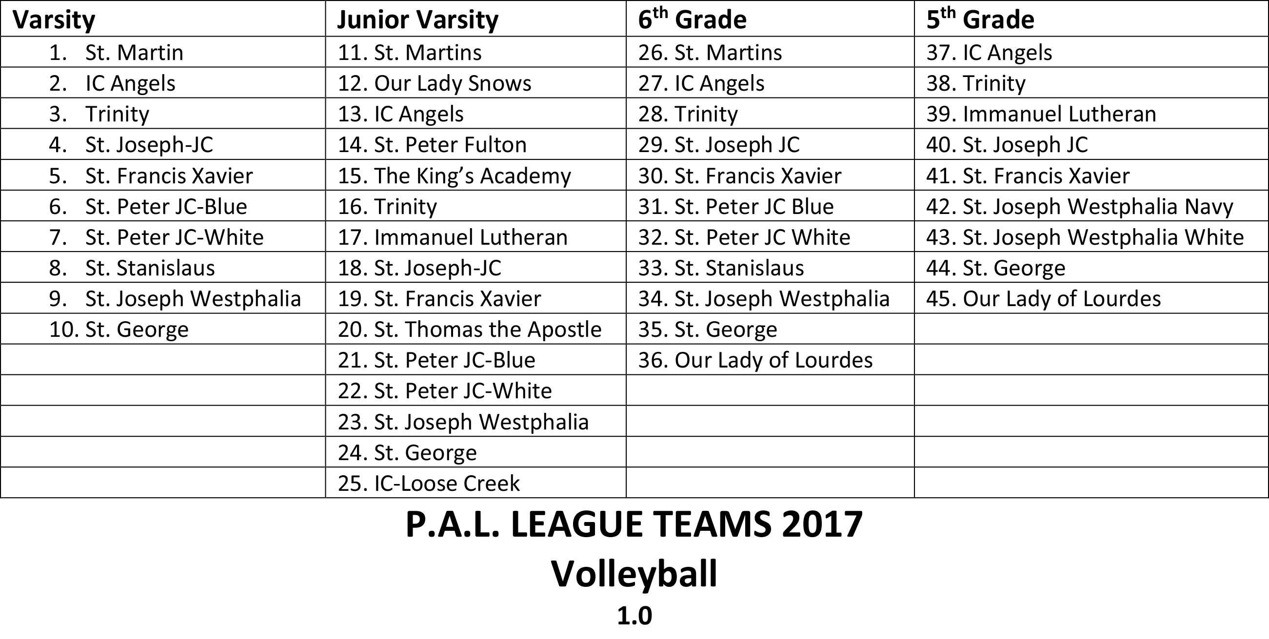 Volleyball Schedule 2017